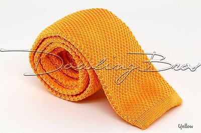 "New Mens Solid Knit Knitted Neck Tie Woven Slim Square 2.5"" - Many Colors!"