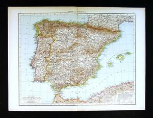 Map Of Spain Gibraltar And Morocco.1896 Times Atlas Map Spain Portugal Gibraltar Lisbon Madrid