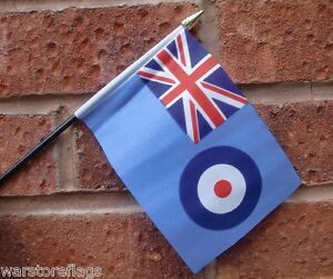 RAF-ENSIGN-HAND-WAVING-FLAG-Small-6-x-4-with-black-pole-ROYAL-AIR-FORCE-UK