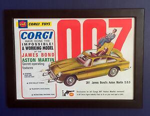 Corgi-Toys-261-James-Bond-Poster-enmarcado-tamano-A4-Tienda-Signo-1966-Aston-Martin-DB5