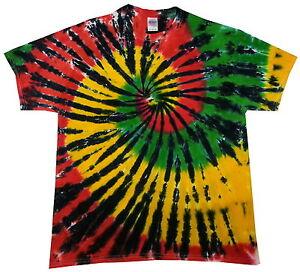 Image is loading Tie-dye-T-Shirt-rasta-spiral-all-sizes- c300b69c2