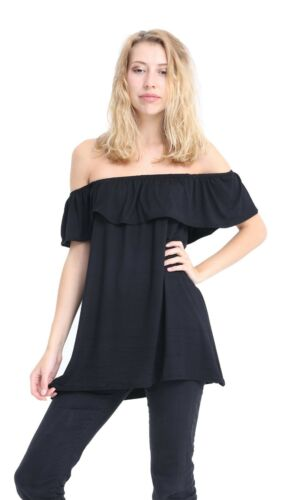 Womens Ladies Gathered Bandeau Off shoulder Strapless Ruffle Boob Tube Top 8-24