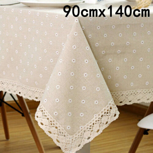 Flower Pattern Tablecloth Linen Cotton Table Cloth /& Lace Dining Table Cover Pro