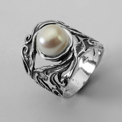 R01279SP SHABLOOL IL Didae Handmade Pearl Sterling Silver 925 Ring Sz. 6 7 8 9