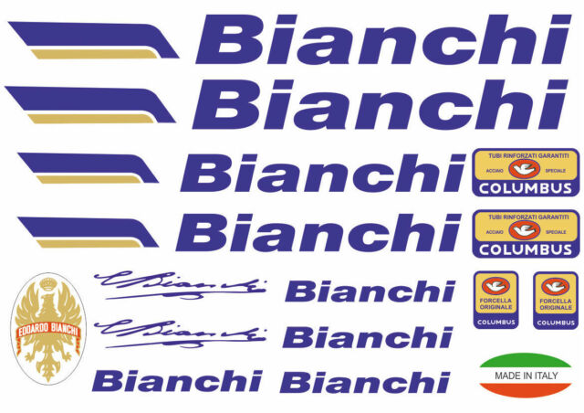 Bianchi Bike Bicycle Frame Decals Stickers Graphic Adhesive Set Vinyl Yellow