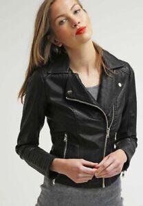 Women/'s Genuine Sheepskin Authentic Leather Biker Stylish Slim Fit Black Jacket