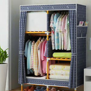 Image Is Loading Large Portable Wood Clothes Closet Canvas Wardrobe Storage