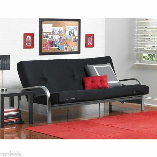 Full Size Futon With Mattress Frame Bed Couch Dorm Furniture Sofa Cover Sleeper