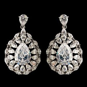 Image Is Loading Bridal Earrings Rhodium Marquise Clear Cz Crystal Teardrop