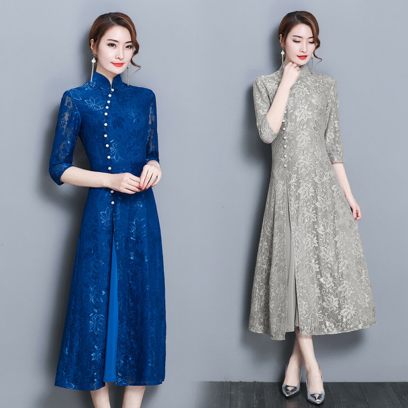 Womens S-XL size Improved Fashion Half Sleeve Lace Long Qipao Cheongsam Dress