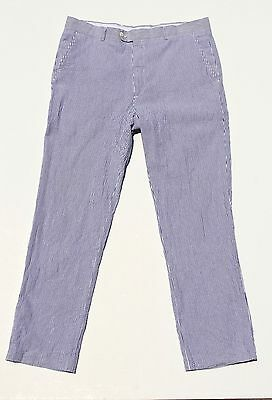 Stafford 36/34 Slim Fit Gent's Blue Striped Flat-Front Seersucker Trousers/Pants