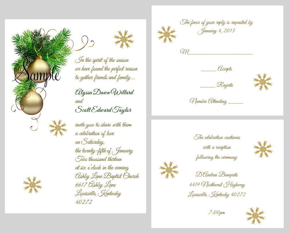 100 Personalized  Winter Christmas Holiday Bridal Wedding Invitations Set