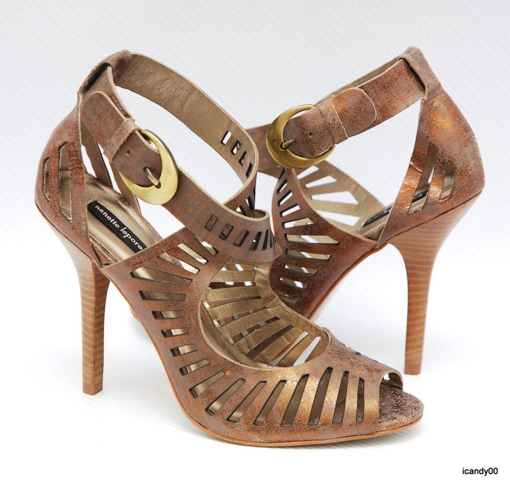 New  385 Nanette Lepore Leather Open Toe Strappy Sandal Pump Heel Bronze 6