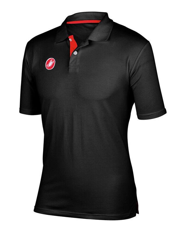 Nuovo 2018 Castelli Ciclismo Race Day Polo Camicia Casual  Nero - Tutte le