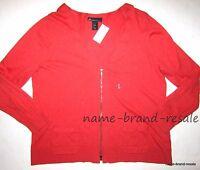Lane Bryant $59 Womens Plus 18 20 2x V-neck Zippered Cardigan Sweater Orange
