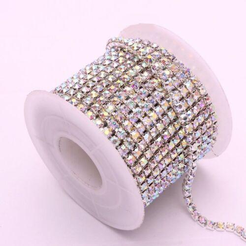 2-row//3-row//4-row//5-row crystal rhinestone trims chain silver Clear AB ss16