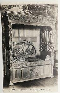 805-Antique-Postcard-Pau-the-Castle-Bed-of-Jeanne-D-039-Albert
