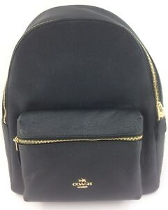 New-Authentic-Coach-F29004-Charlie-Pebble-Leather-Backpack-Shoulder-Bag-Black