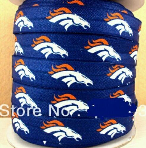 "NFL Denver Broncos 3yds 5//8/"" Elastic FOE Ribbon Bow Craft scrapbooking Headband"