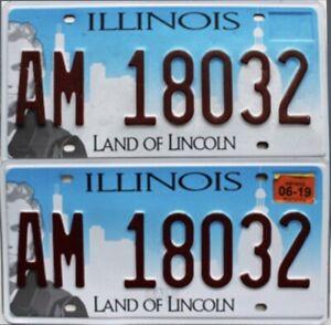 Paire plaques immatriculation américaine authentique USA Illinois AM 18032