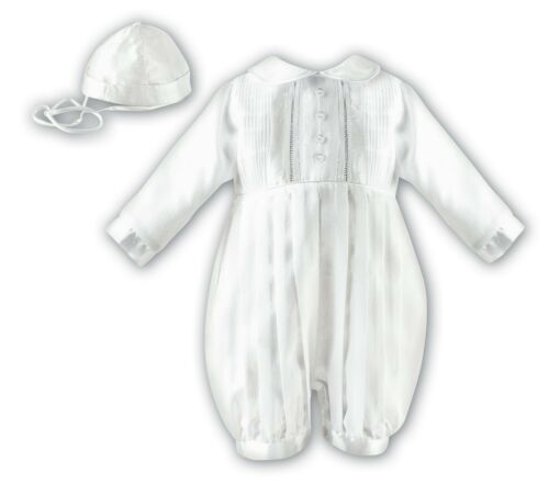 SARAH LOUISE Baby Boy White Long Sleeve Christening Romper BNWT 232L
