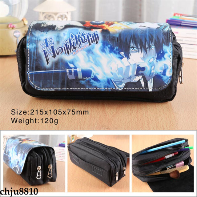 Blue Exorcist okumura rin Canvas Pencil Case pen bag Stationery Zip Make-Up Bag