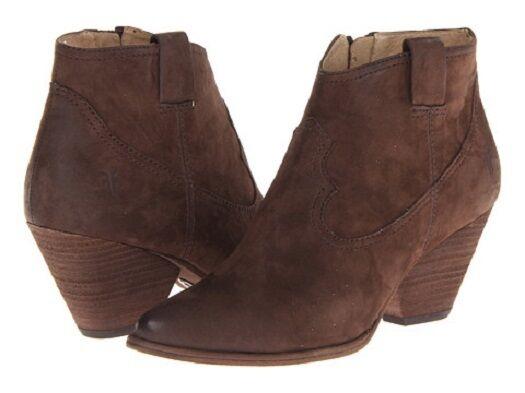 New in Box Womans Frye Reina Bootie Dark Brown Buffed Nubuck Size 9.5 MSRP $ 258