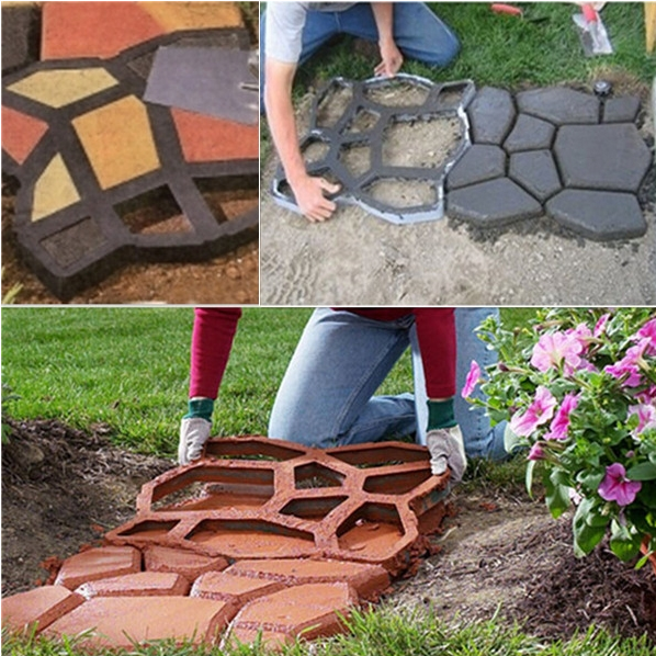 Patio Paver DIY Pathway Mold Garden Yard Walkway Decor Stepping Stone Path  Maker