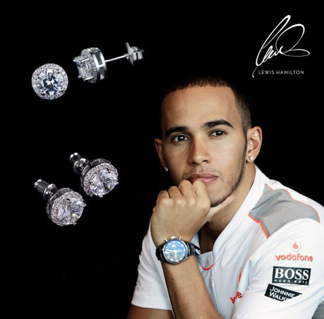 Lewis Hamilton Mercedes 18ct White Gold Plated Multiple Crystal Gem Earrings