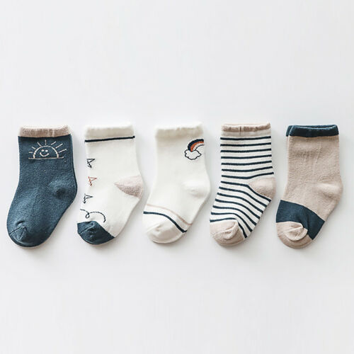 Cotton Children/'s socks 0-8 Years Old Childen Girls Boys 5 Pairs Middle Sock Hot