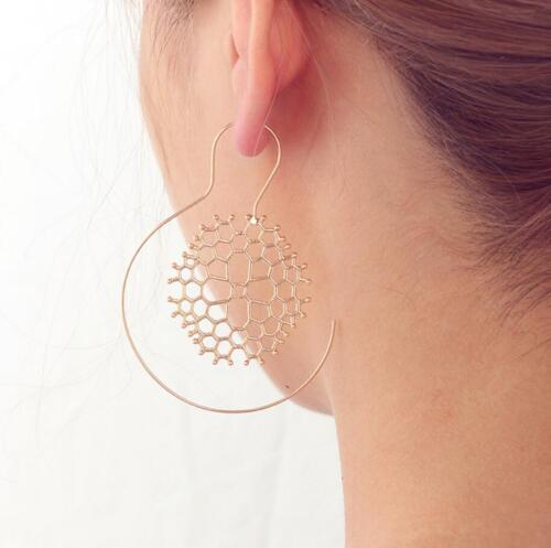 Vintage Femmes Spirale Boucles d/'oreilles Exagérée en nid d/'abeille WHIRLPOOL Boucles d/'oreilles Créoles