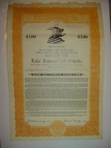 Lake Terrace Apartments Bond Stock Certificate Chicago Illinois
