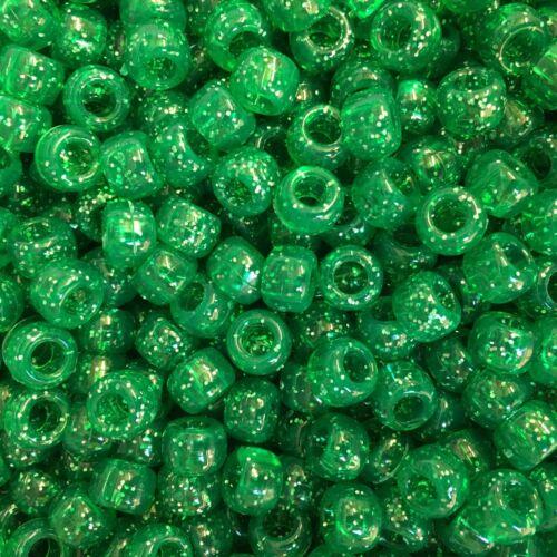 Dark Green Glitter Pony Beads 9x6mm ALL AMOUNTS