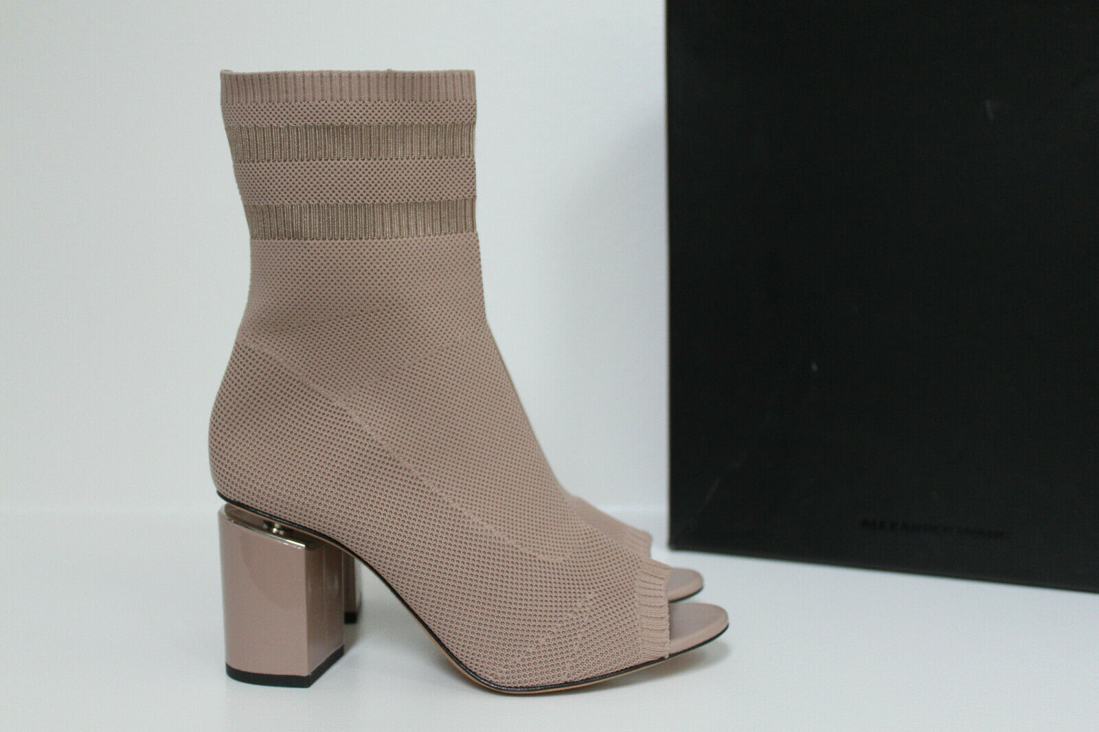 New sz 7   37.5 Alexander Wang Cat Nude Knit Sock Open Toe Ankle Boot shoes