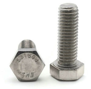 """7//16-14 x 1/"""" Stainless Steel Bolts Hex Head Grade 18-8 Qty 50"""