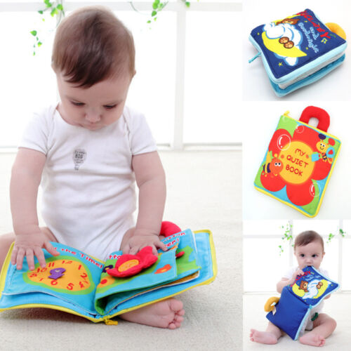 12 pages Soft Cloth Educational Toys Baby Boys Girls Rustle Sound Infant Books