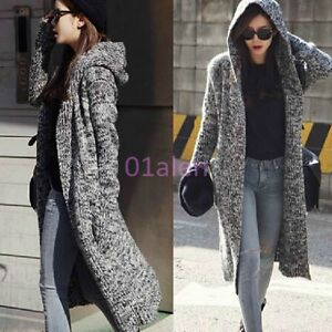 Womens Mid Long Sweater Knitting Hooded Trench Jacket Cardigan Chic