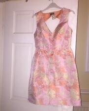 oasis size 10 dress V Neck Sleeveless Peephole Back Floral Design Satin Pink