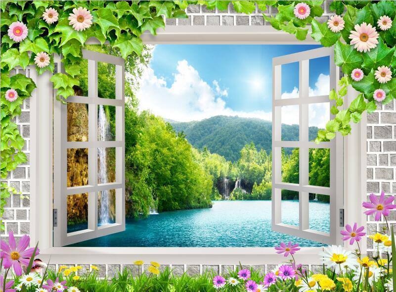 3D vert flower window sun Wallpaper Decal Dercor Home Kids Nursery Mural  Home