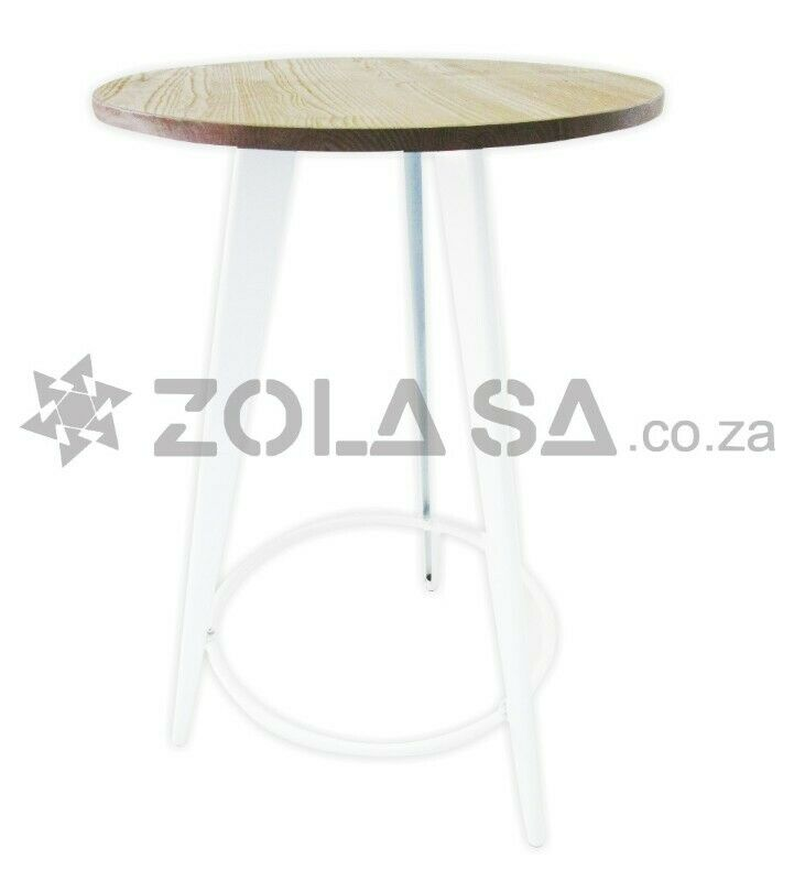 Tolix Round  Bar Table With A Wooden Top -Black /White Legs