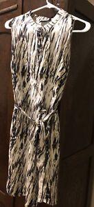 Cynthia-Rowley-Linen-Ikat-Brown-Tan-Shift-Dress-Anthropologie-Sz-8-Cute