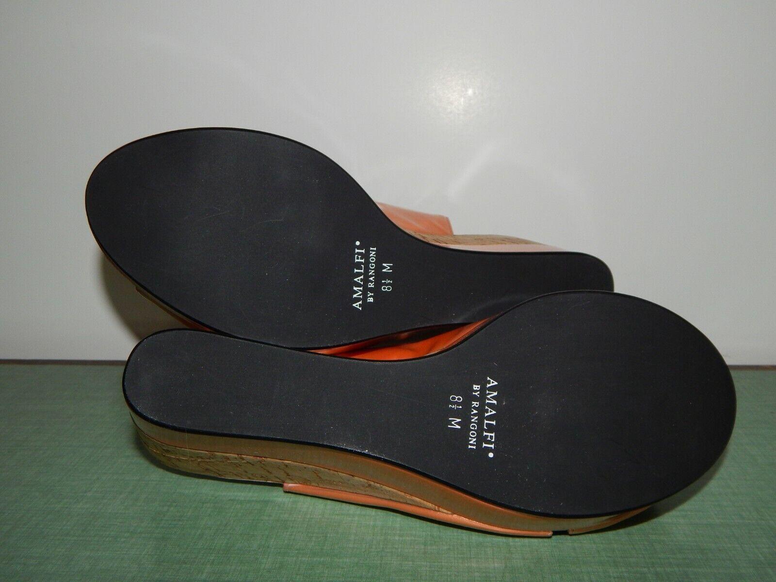 NEW Amalfi Cork Wedge Sling Sandals Apricot Peach Pink 8.5 M