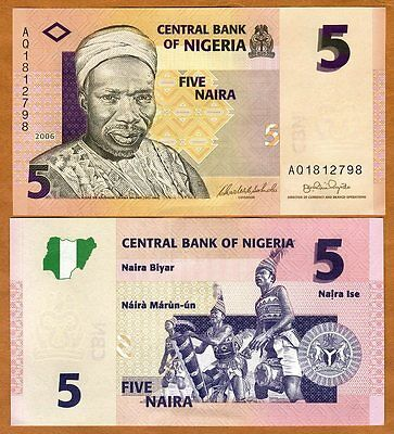 Unc > Tribal Drummers Shrink-Proof P-32a 32 2006 5 Naira Independent Nigeria