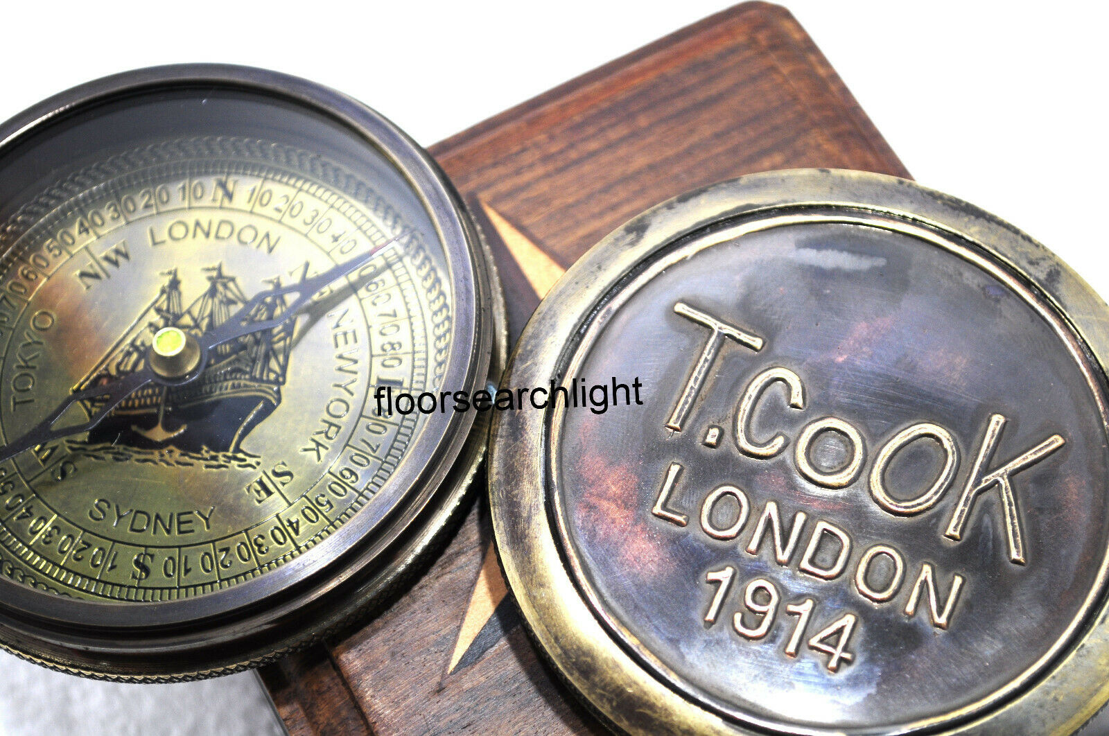 1914 T.COOK London Antique Vintage Compass Marine Collectible With Wooden Box