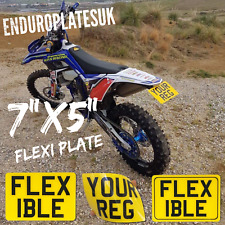 "FLEXIBLE 7 x 5"" SHOW NUMBER PLATE OFF ROAD KTM EXC ENDURO MOTORCYCLE FLEXI REG"