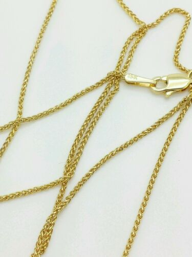 "14k Yellow Gold Diamond Cut Round Wheat Necklace Pendant Chain 18/"" 1.0mm"