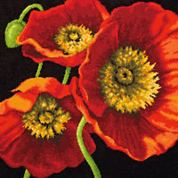 red Poppy Trio Needlepoint Kit-14x14 Stitched In Wool & Thread on sale