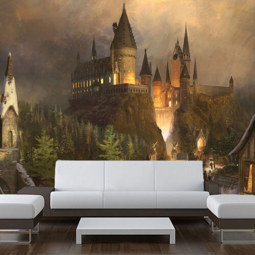"""Removable Wall Mural harry vinyl 121/"""" wide x 94/"""" tall Wizards castle Decal"""