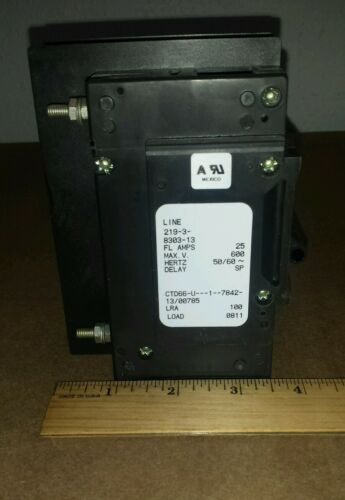 Airpax 66U1-7842-13 Circuit Breaker 3 Pole 25A 600V Delay SP 219-3-8303-13