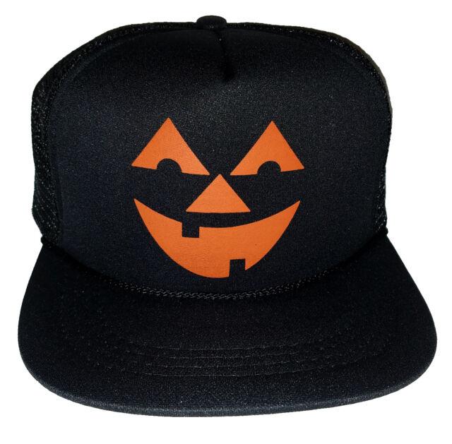 32d3d5db261f2 Kids Pumpkin Head Halloween Costume Snapback Mesh Trucker Hat Cap Black
